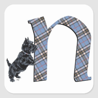 Scottish Terrier Monogram N Square Sticker