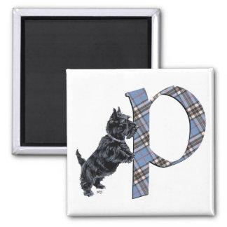 Scottish Terrier Monogram P Square Magnet