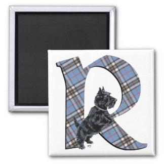 Scottish Terrier Monogram R Square Magnet