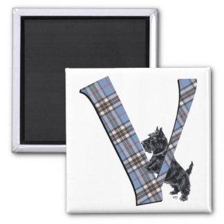 Scottish Terrier Monogram V Square Magnet