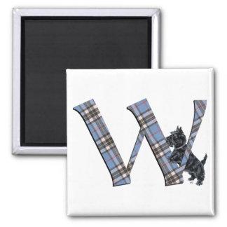 Scottish Terrier Monogram W Square Magnet