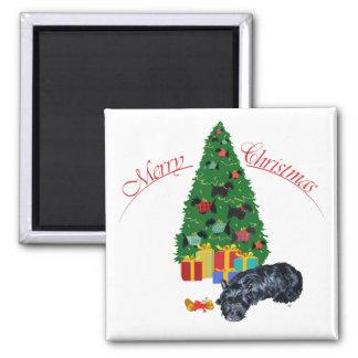 Scottish Terrier Nap Christmas Square Magnet