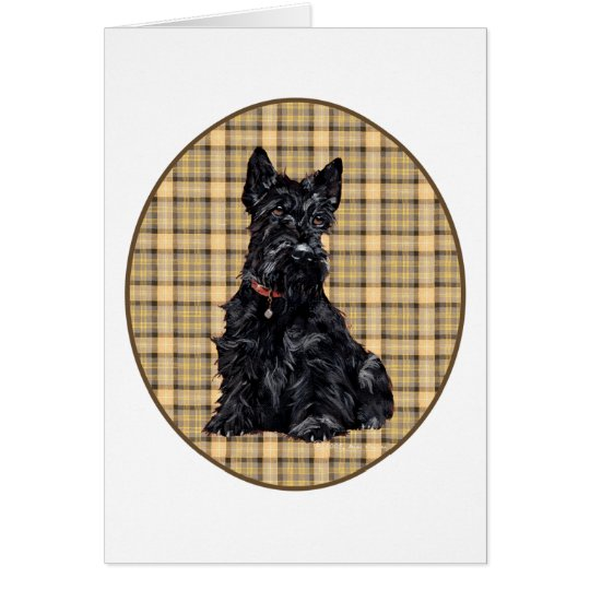 Scottish Terrier on Plaid Card