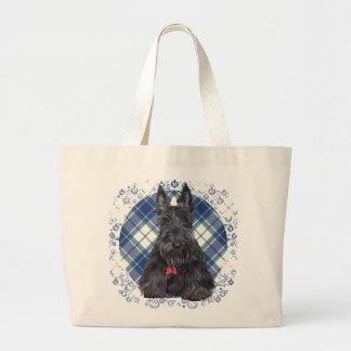 Scottish Terrier on Tartan Jumbo Tote Bag