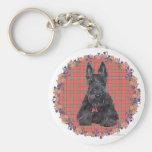 Scottish Terrier on Tartan Basic Round Button Key Ring