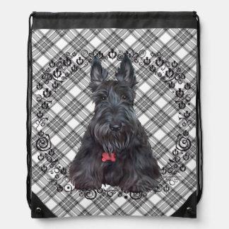 Scottish Terrier on Tartan Cinch Bags