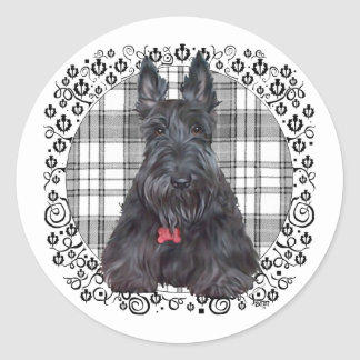Scottish Terrier on Tartan Round Sticker