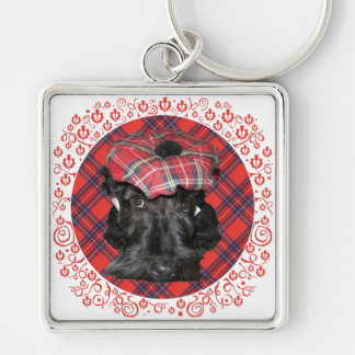 Scottish Terrier on Tartan Silver-Colored Square Key Ring