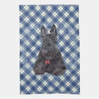 Scottish Terrier on Tartan Tea Towel