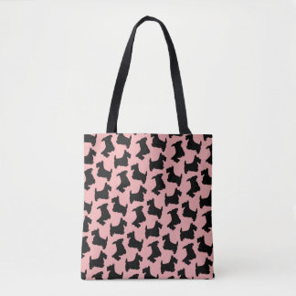 Scottish Terrier Pattern Pink and Black Tote Bag