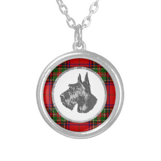 Scottish Terrier Profile Plaid Silver Plated Necklace