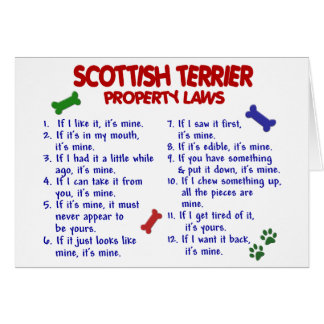 SCOTTISH TERRIER Property Laws 2 Card