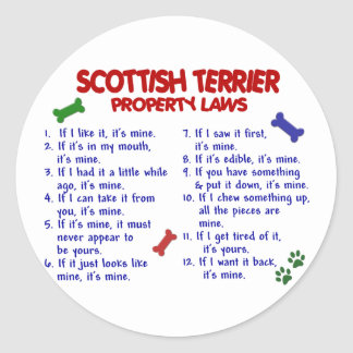 SCOTTISH TERRIER Property Laws 2 Classic Round Sticker
