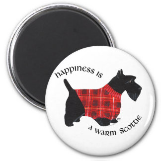 Scottish Terrier Red & Black Plaid Sweater 6 Cm Round Magnet