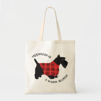 Scottish Terrier Red Black Plaid Sweater Tote Bag
