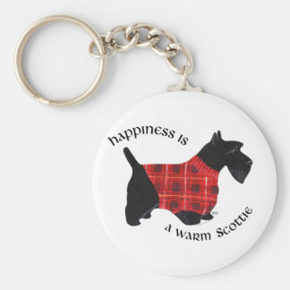 Scottish Terrier Red & Black Plaid Sweater Basic Round Button Key Ring