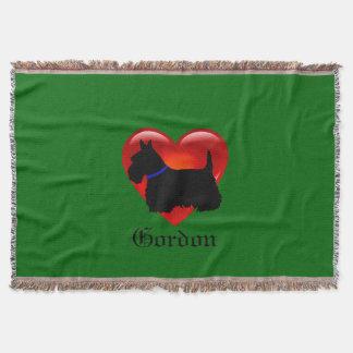 Scottish Terrier, red heart, island green, blue Throw Blanket
