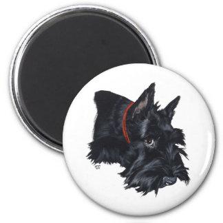 Scottish Terrier Resting 6 Cm Round Magnet