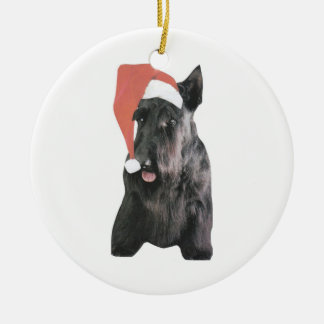 Scottish Terrier Santa Hat Ornament
