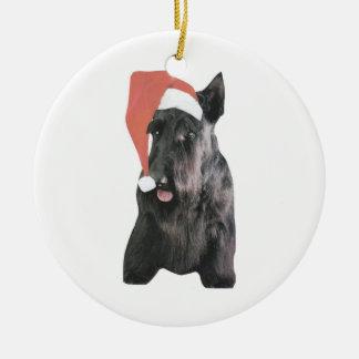 Scottish Terrier Santa Hat Ornament