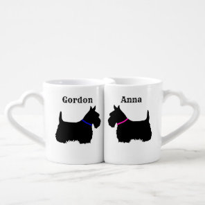 Scottish Terrier, Scotland dog, red heart/love Coffee Mug Set