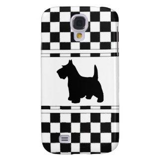 Scottish Terrier Scottie Dog Black and White Check Galaxy S4 Case