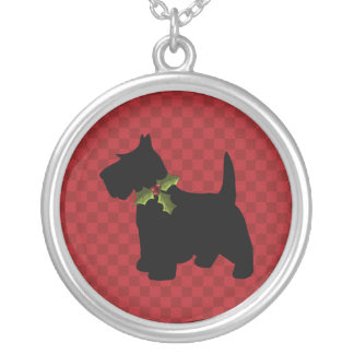 Scottish Terrier Scottie Dog Christmas Silver Plated Necklace