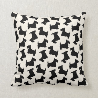 Scottish Terrier Scottie Dog Pattern Black Cushion