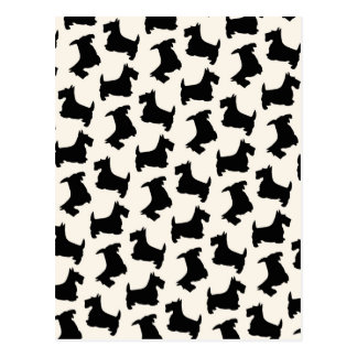 Scottish Terrier Scottie Dog Pattern Black Postcard