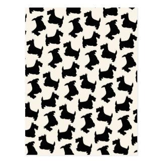 Scottish Terrier Scottie Dog Pattern Black Postcard