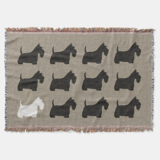 Scottish Terrier Scottie Dog Silhouettes Throw Blanket