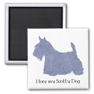 Scottish Terrier Silhouette in Denim Square Magnet