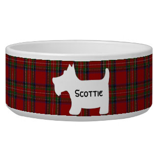 Scottish Terrier Silhouette on Royal Stuart Tartan Dog Bowls