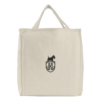 Scottish Terrier Silhouette with Custom Monogram Embroidered Bag