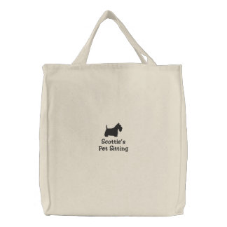 Scottish Terrier Silhouette with Custom Text Bags