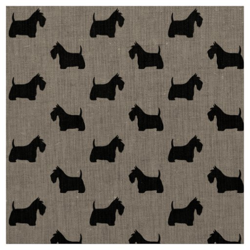 Scottish Terrier Silhouettes Pattern Fabric