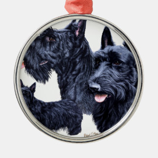 Scottish Terrier Silver-Colored Round Decoration