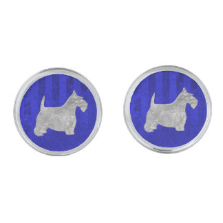 Scottish Terrier Silver on Blue Silver Finish Cuff Links