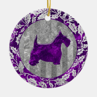 Scottish Terrier Silver Purple Glass Look Round Ceramic Decoration