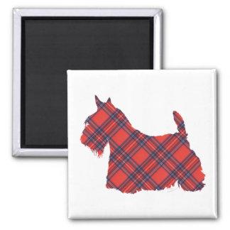 Scottish Terrier Stewart Tartan Square Magnet