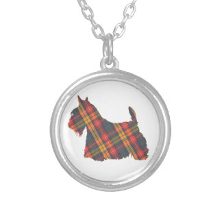 Scottish Terrier Tartan Silhouette Silver Plated Necklace