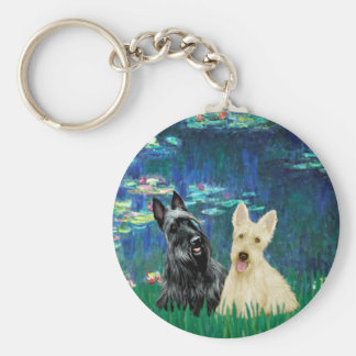 Scottish Terrier (two-BW) - Lilies 5 Key Ring