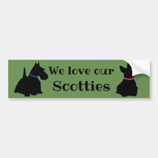 Scottish Terrier, We love our, Scotties/black Bumper Sticker
