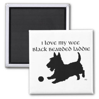 Scottish Terrier - Wee Black Bearded Laddie Square Magnet