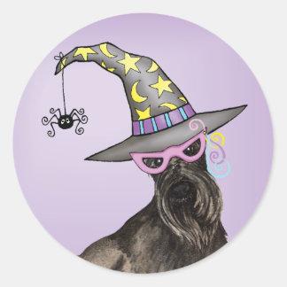 Scottish Terrier Witch Classic Round Sticker