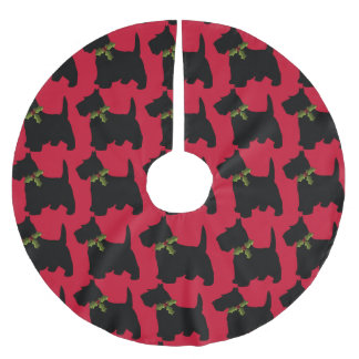 Scottish Terrier With Christmas Bow Dog Pattern Brushed Polyester Tree Skirt