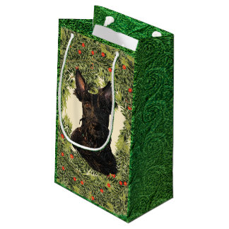 Scottish Terrier Wreath Small Gift Bag