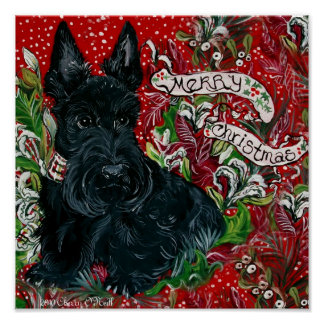 Scottish Terrier Xmas Poster