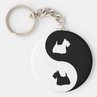 Scottish Terrier Yin Yang Basic Round Button Key Ring