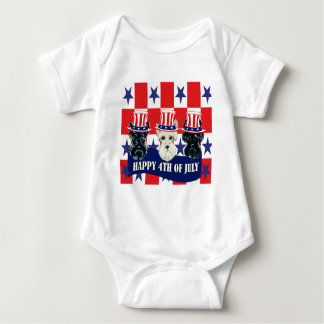 Scottish Terriers 4th of July Baby Bodysuit